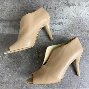 Nine West Artissa Nude Open Toe Bootie Heel 9M